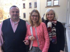 lunch club mit Frau Prof. Birgit Dräger, Kanzlerin der Universität Leipzig mit den Gastgebern des lunch club Katharina Hitschfeld und André Münster