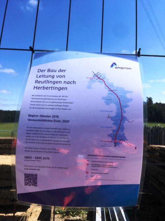 Vor-Ort-Begehung der Amprion-Höchstspannungsleitung von Reutlingen nach Herbertingen, die sich seit Oktober 2018 im Ersatzneubau befindet.