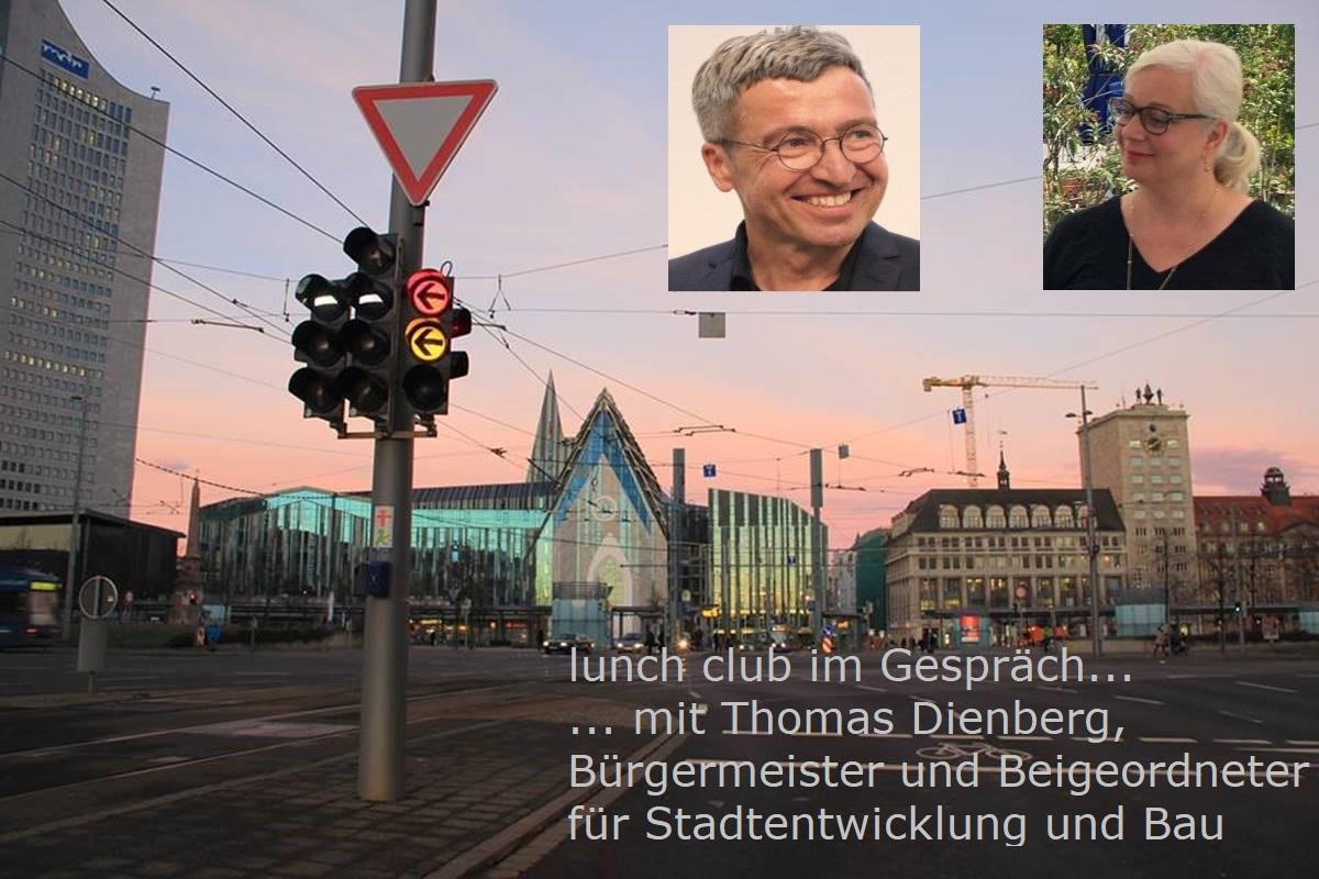Fotocollage: Bild des Augustusplatzes in Leipzig mit Uniriese, Paulinum und Krochhochhaus, oben rechts Porträtfotos von Thomas Dienberg und Katharina Hitschfeld