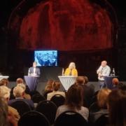 Buchpremiere, Christoph Bigalke (Hrsg.), Cornelius Pollmer (Süddeutsche), Katharina und Uwe Hitschfeld (Hg.), Foto: Büro Hitschfeld