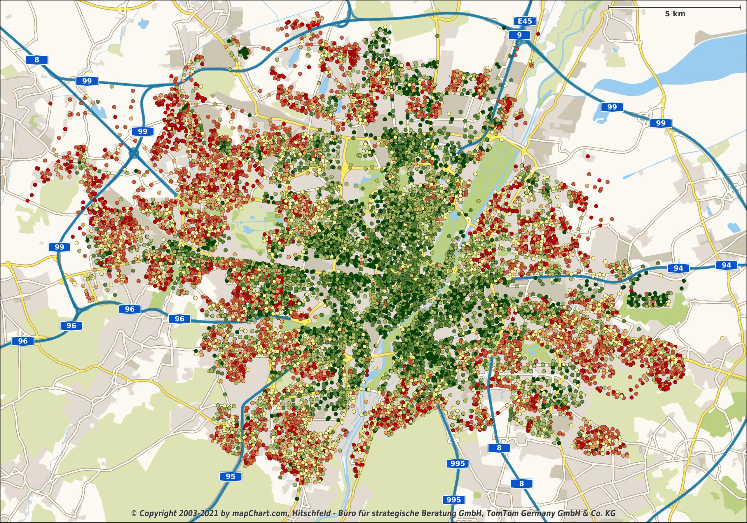 Karte zur Mikrogeografie Münchens