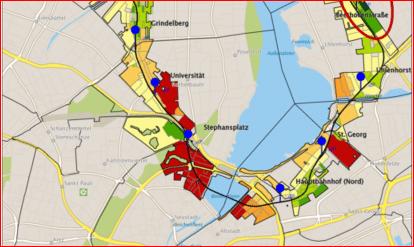Auszug Stadtplan Hamburg mit Analyse der Soziostruktur